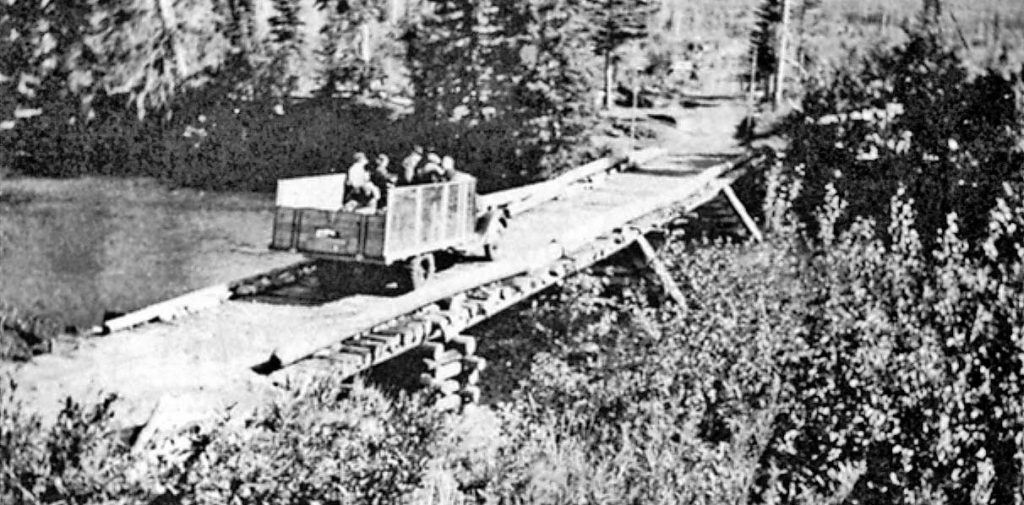 Jacobs' truck on bridge on the way to Stony Lake