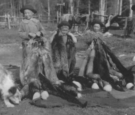 Peck Children with Fox Hides