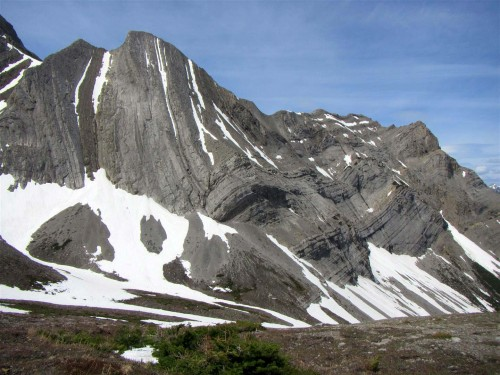 Devonian age Palliser Formation forms the wall above Bootski Lake