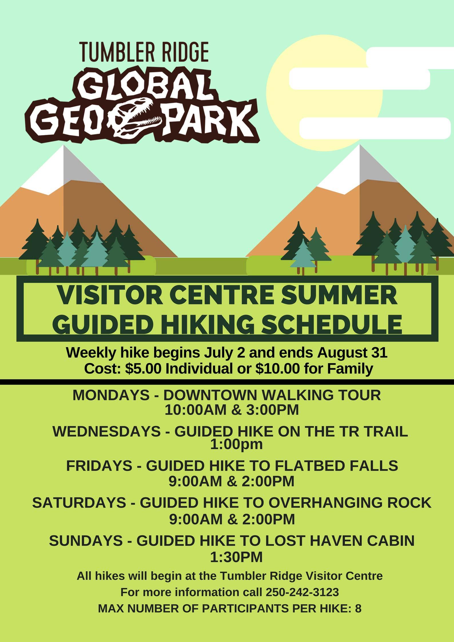 Hiking schedule summer 2018